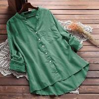 Long Sleeve Women Tunic Tops Blouse Baggy Button Down Shirt Oversized Casual Tee