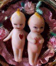 2x Frozen Charlotte Tiny Kewpie Doll Pocket Watch Pendant antique Lace Bisque