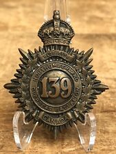 Antique Wwi Northumberland 139th Overseas Battalion Canada Collar Badge