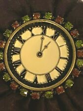 clock brooch enamel face Original Tag M. Haskell Vintage unsigned jeweled faux