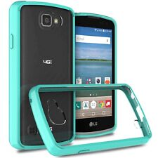 Hybrid Slim Fit Hard Back Cover Case for LG Optimus Zone 3 / Spree Teal / Clear