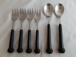 Vintage Denby Regency cutlery dark brown dessert forks and spoons