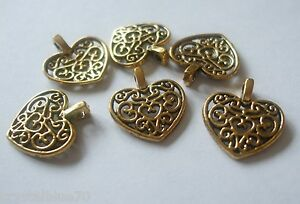 10 x Hearts Filigree Style Charms Antique Gold Tone 17x15x2mm Crafts - Free Post