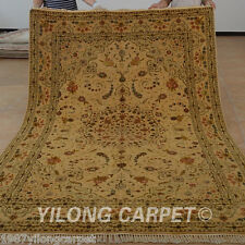 Yilong 6'x9' Handmade Wool Silk Area Rugs Golden Handiwork Medallion Carpet 1426
