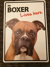 My BOXER Lives Here A5 Plastic Sign bargain cheap