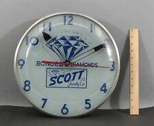 Vintage Bonded Diamonds Scott Jewelry Co Telechron Light-up Wall Clock Nr