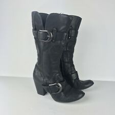 """Born 7 38 Black Boot Tall Leather Buckle Heel Career Casual Side Zip 2 3/4"""" Size"""