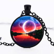 Red Moonrise photo Black Dome Glass Cabochon Necklace chain Pendant #328