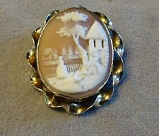 VTG Lrg Victorian GF Biblical Story Rebecca at the Well Carved Cameo~Btfl Detail
