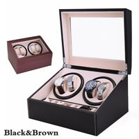 4+6 PU Automatic Rotation Watch Winder Leather Storage Display 12'' Black&Brown