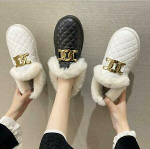 Womens Fur Lined Snow Ankle Boots Ladies Winter Warm Waterproof Flat Shoes Size*