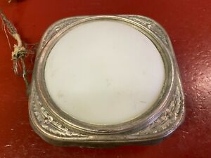 VINTAGE MILK GLASS INTERIOR DOME LIGHT LENS BEZEL FANCY FLORAL DESIGN 1930 's