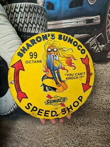 OLD VINTAGE DATED 1962 SHARON'S SUNOCO SPEED SHOP PORCELAIN GAS SIGN RACING FUEL