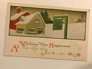 Wishing You Happiness All the Way from Jan 1 to Dec 31 Christmas Postcard