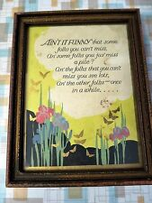 "Vintage ""Aint It Funny..."" Framed Motto Poem - 1920s-30s - Buzza Like - Art Deco"