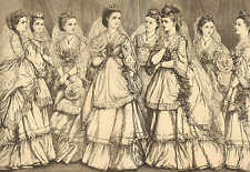 Royal Wedding, Jewelry & Gifts, Bridal Gown, Bride's Maids, Vintage 1871 Print