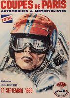 Affiche Originale - Coupe de Paris - Agaci - Linas-Montlhery - Grand Prix -1969