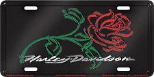 Harley Davidson Rose Embossed Metal Vanity Car License Plate Auto Tag
