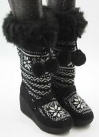 Red Camel Womens Ladies Black White Sweater Knit Mid-Calf Wedge Heel Boots Sz 6M
