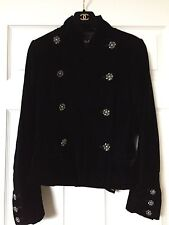 Chanel 08A PARIS LONDON BLACK VELVET JACKET Gripoix Crystal CC buttons FR42 $7K