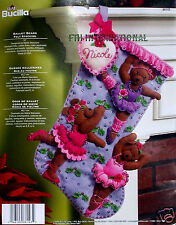 "Bucilla Ballet Bears ~ 18"" Felt Christmas Stocking Kit #86143 Teddy, Ballerinas"