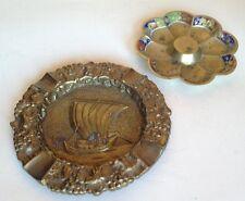 2 Vintage Brass Ash Trays. Japanese Origin?  Boat And Flower Designs