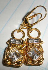Earrings Charm 14 Kt Gold Plated Leverback Dangle Made With Swarovski Crystals