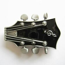 NEW ELECTRIC GUITAR HEADSTOCK MUSIC BLACK BELT BUCKLE