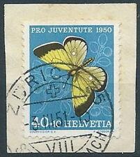 1950 SVIZZERA USATO PRO JUVENTUTE FARFALLA 40+10 CENT - RR13850-2