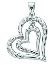 ciondolo a cuore argento sterling rodio finitura zirconia cubica Doppio