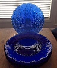 Set of 8 Vintage Avon France ROYAL SAPPHIRE Blue Clear Glass Dinner Plates MINT