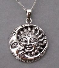 925 Sterling Silver Sun Moon Stars Pendant Necklace Celestial New Awesome!