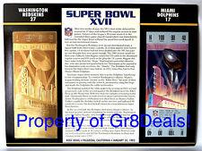 SUPER BOWL 17 REDSKINS vs DOLPHINS NFL 22 KT GOLD SB XVII TICKET Willabee & Ward