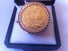 FULL SOVEREIGN 22 CARAT GOLD ANTIQUE EDWARD VII 1905 IN A 9 CT GOLD RING LOT 625