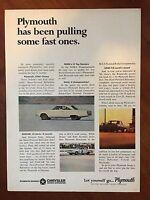 Vintage 1966 Original Print Magazine Ad PLYMOUTH Belvedere-Barracuda