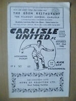 1960 Official Programme- CARLISLE UNITED v ACCRINGTON STANLEY