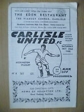 1960 Official Programme- CARLISLE UNITED v ACCRINGTON STANLEY