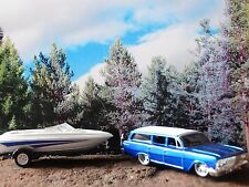 Maisto 1962 Chevy Biscayne Station Wagon & Ski Boat 1:64 Scale Diecast Custom