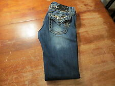 MISS ME BOOT CUT JEANS WITH ALL THE BLING (EUC) SIZE 27X28 VERY NICE