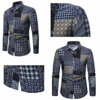 T-shirt Long Sleeve Dress Tops casual Stylish formal Slim Fashion Men's Luxury