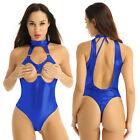 Womens Catsuit Wetlook Bodysuit Crotchless Leotard Clubwear Open Cups Nightwear