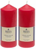 "2x Price's Large Red Pillar Candle - 6"" - Up to 50 Hours Burn Time"