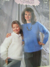 girls + womans mohair sweaters round & v- neck knitting pattern