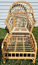 MCM BENCHCRAFT Bamboo Rattan Viggo Boesen Style Beach Regency Armchair Ottoman