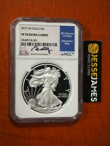 2017 W PROOF SILVER EAGLE NGC PF70 FIRST DAY OF ISSUE EDMUND MOY SIGNED LABEL