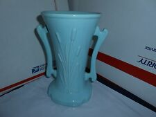 VTG 1950's HANDLED URN VASE CATTAILS W/ CATTAILS  BLUE POTTERY CAMERON CLAY