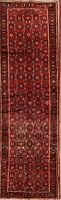 Vintage All Over Hossainabad Hand-Knotted 4'x13' Red Wool Runner Rug