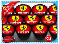 12 Ferrari Car Edible Icing Image Cupcake Topper Birthday Decorations