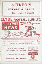 Football Programme>CLYDE v FORFAR ATHLETIC Nov 1961