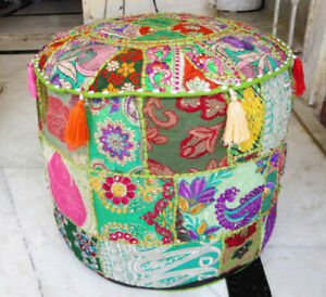 """Indian Vintage Patchwork Moroccan Seat Footstool Cover Throw Ottoman Pouf 14X18"""""""